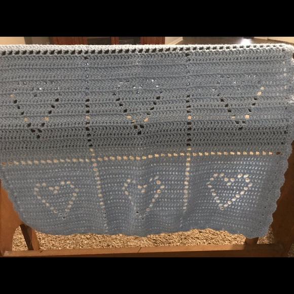 Other - Handmade heart patterned crocheted blanket